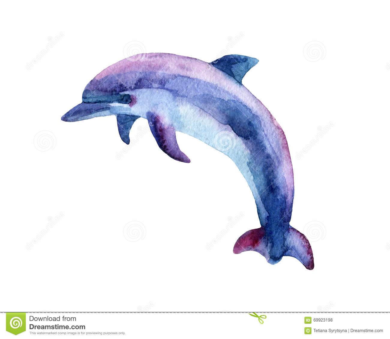 Jumping Blue Dolphin. Stock Illustration - Image: 69923198