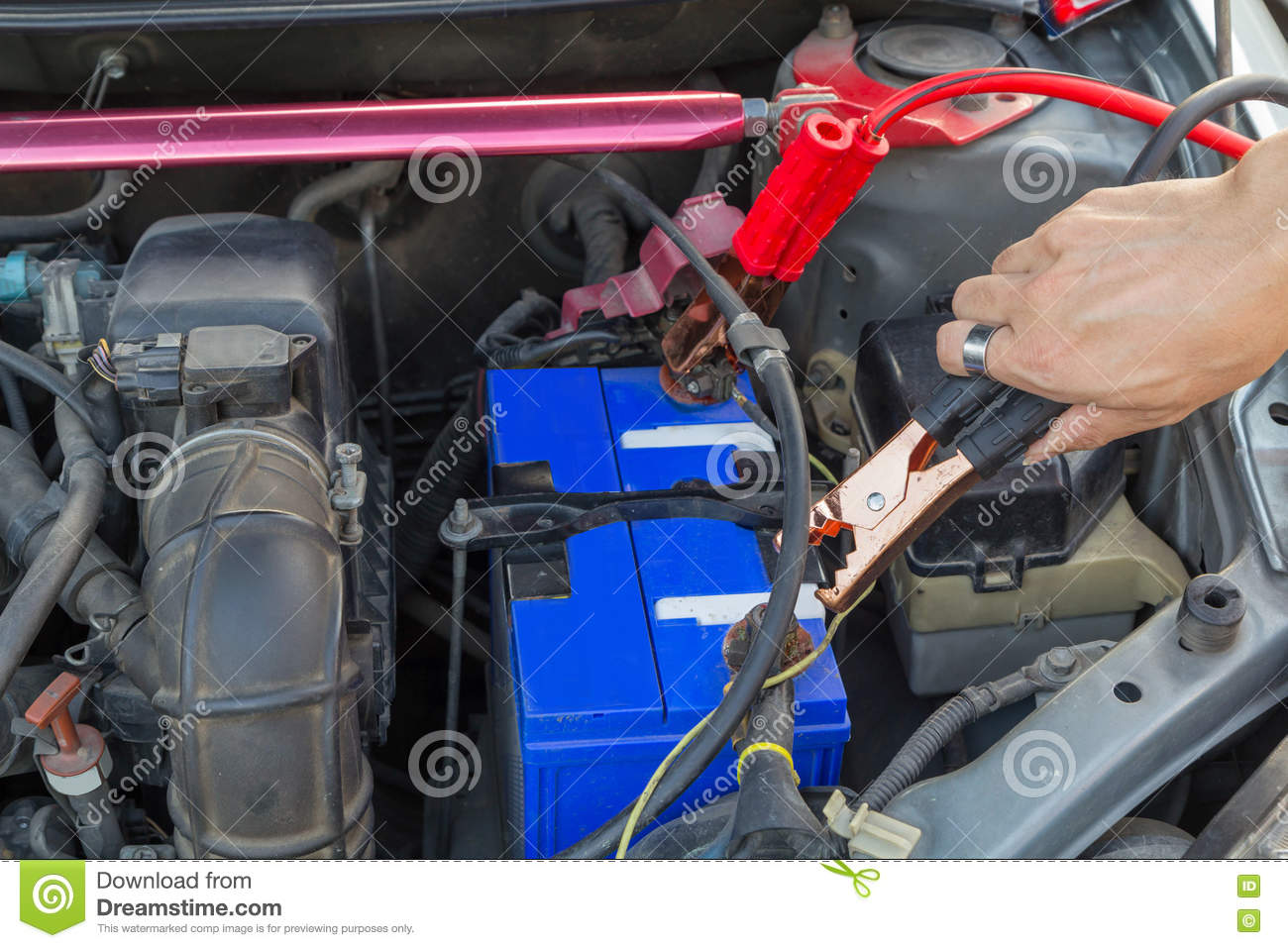 Jumping The Car Battery For Charging Stock Image Image Of Service