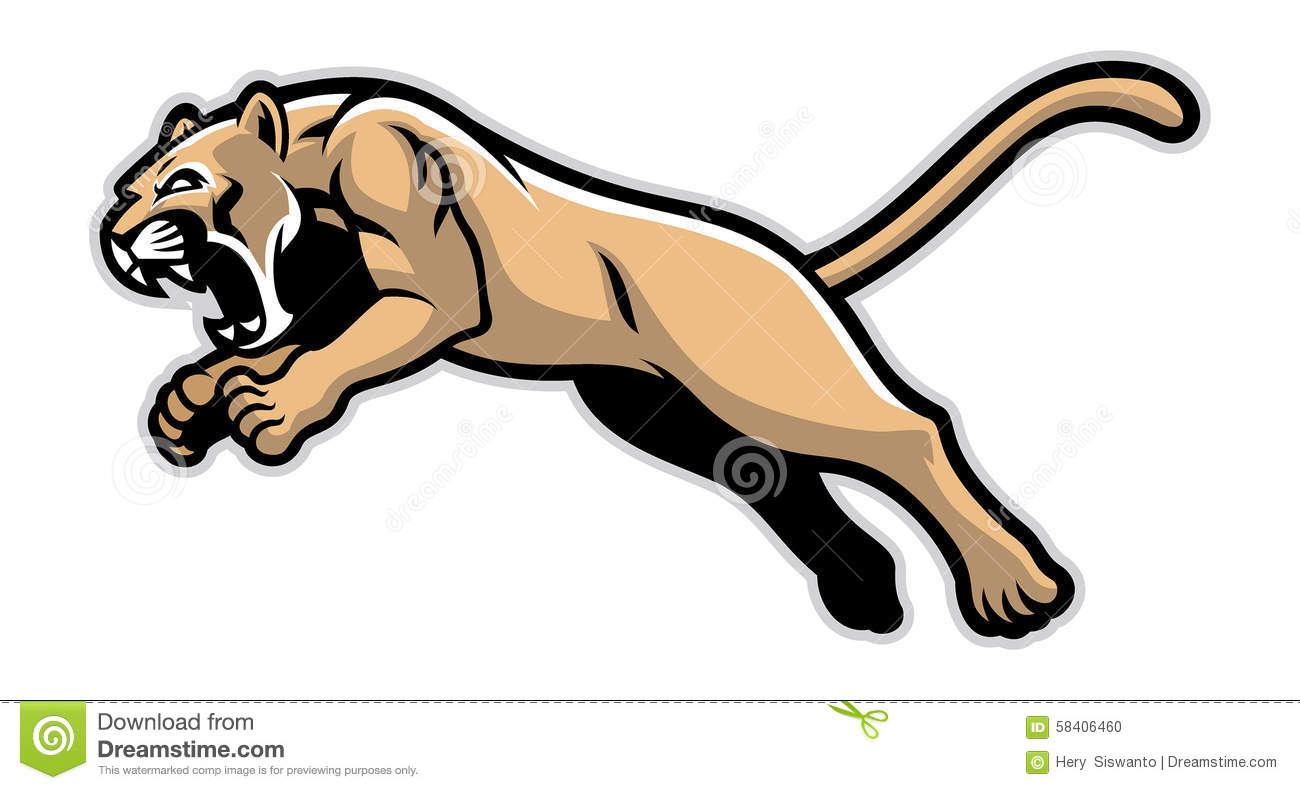 Jumping Cougar Mascot Stock Vector - Image: 58406460