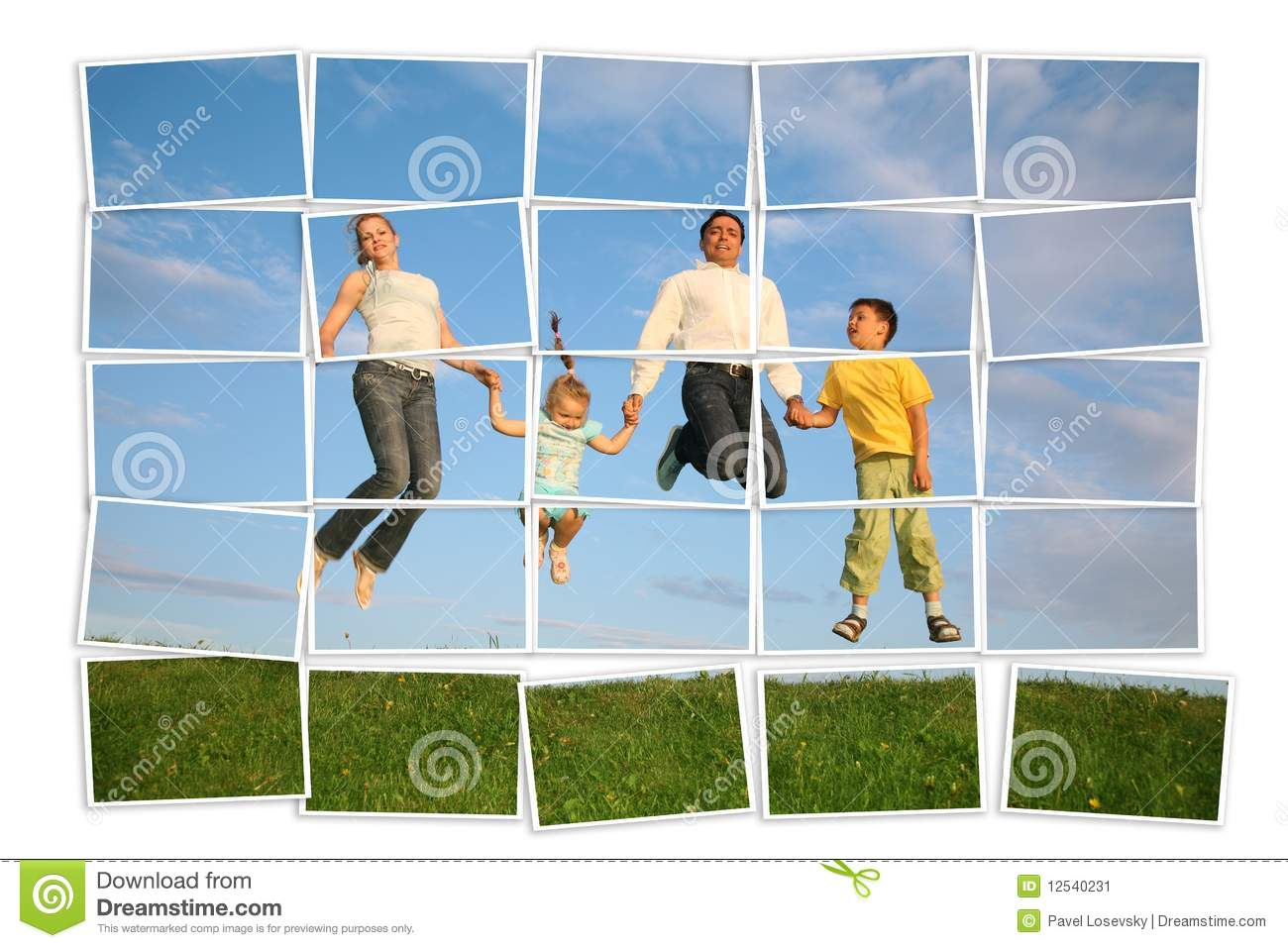 Jumping family on grass, collage