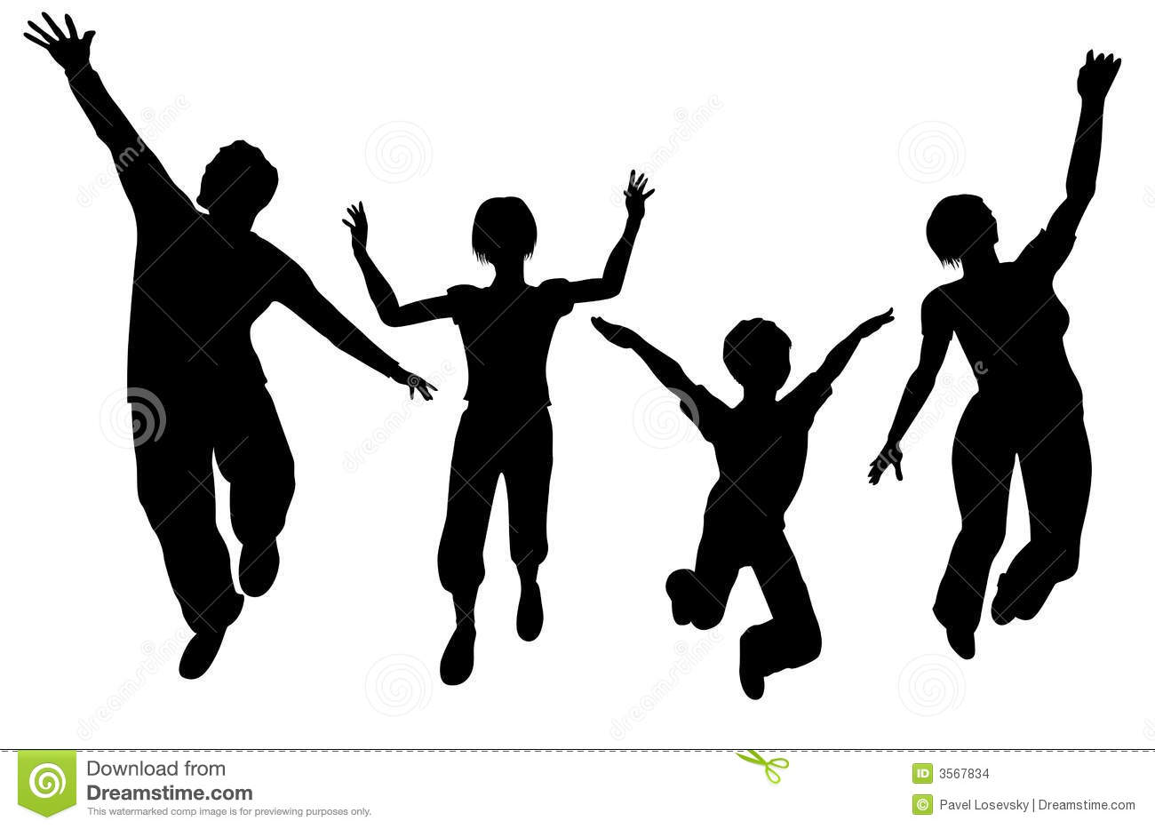 Jumping Family Silhouette Stock Vector Image Of Moving