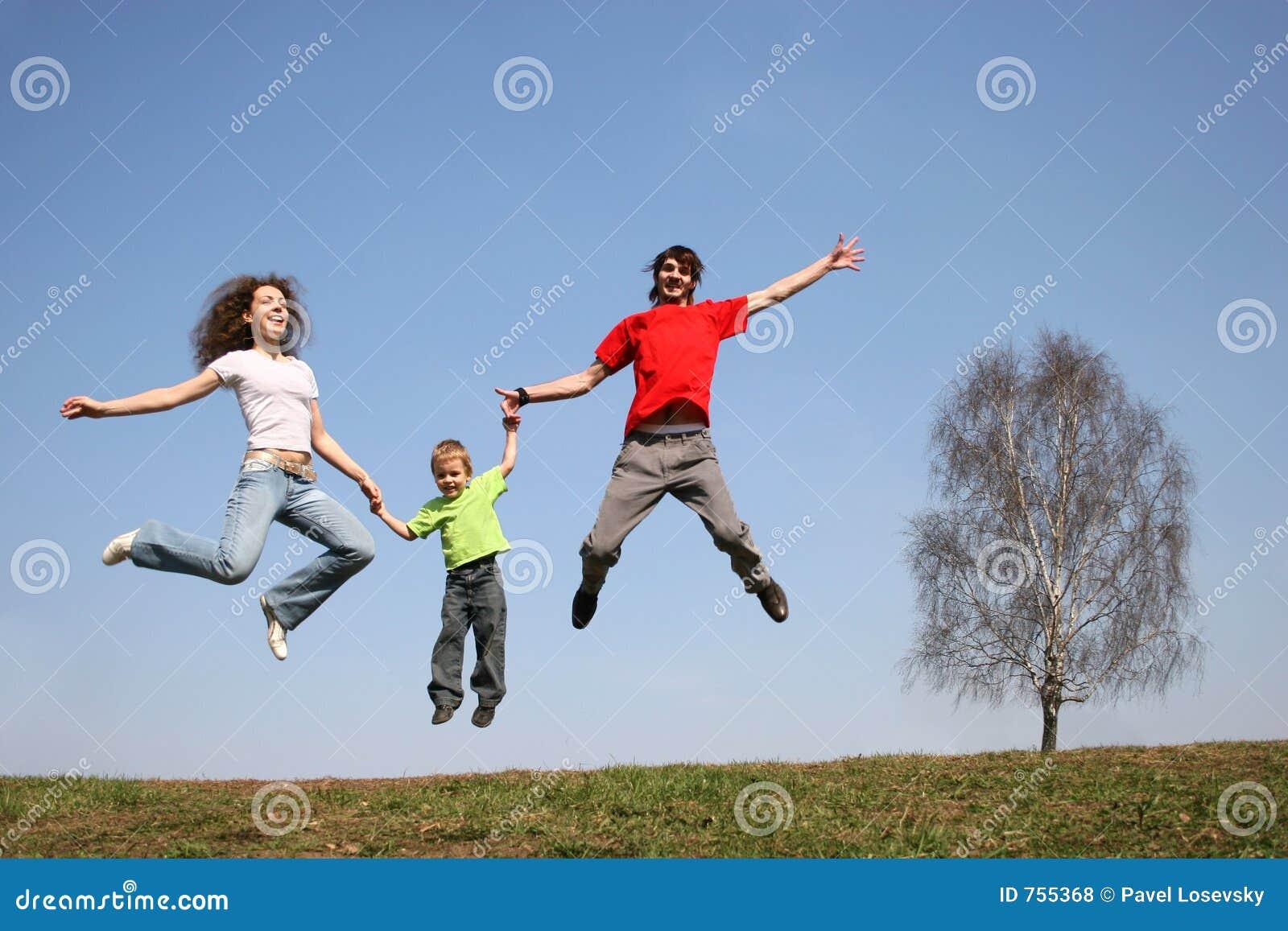 jumping family spring royalty free stock photos image