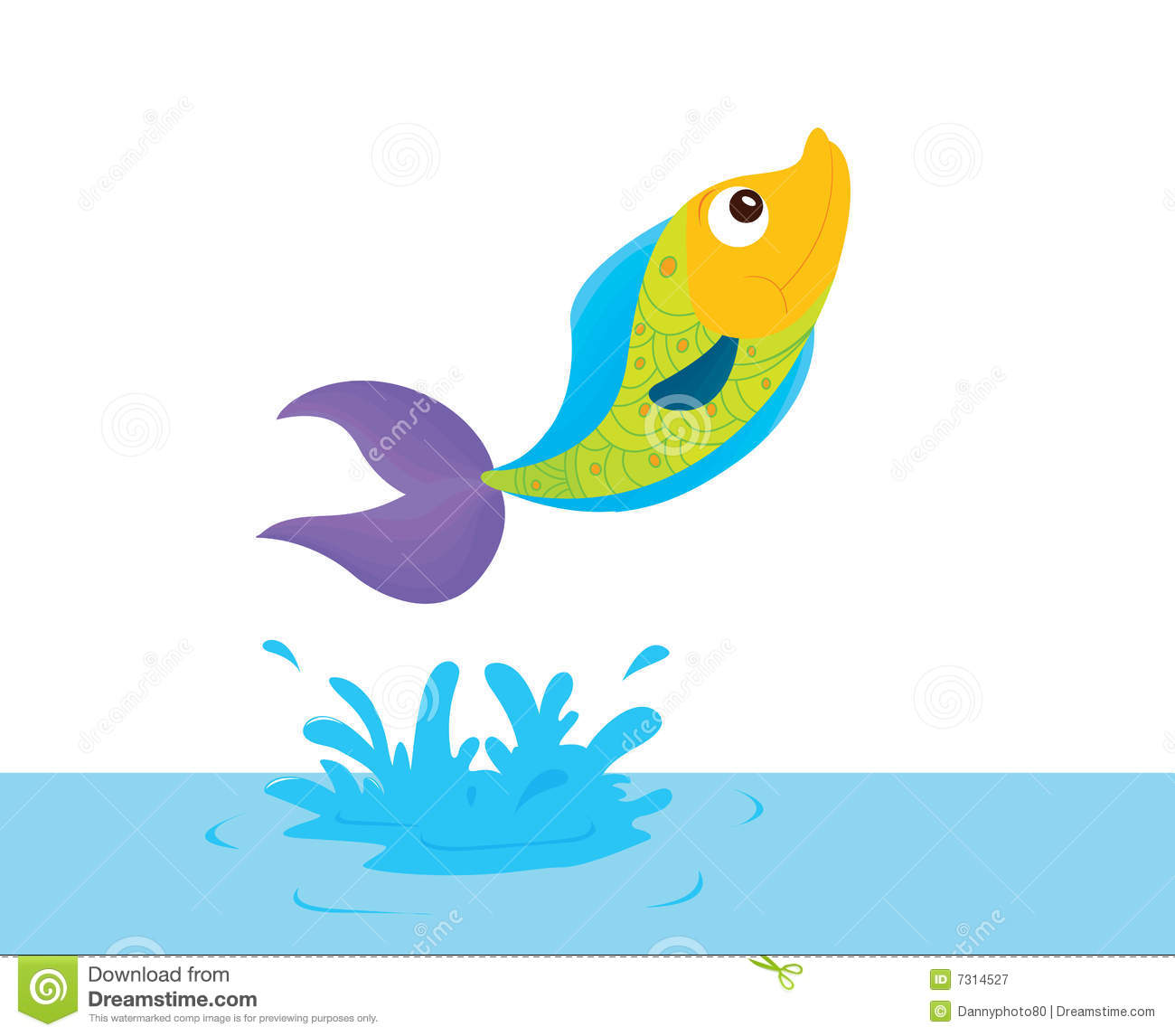 Cartoon fish jumping out of water clipart - photo#17