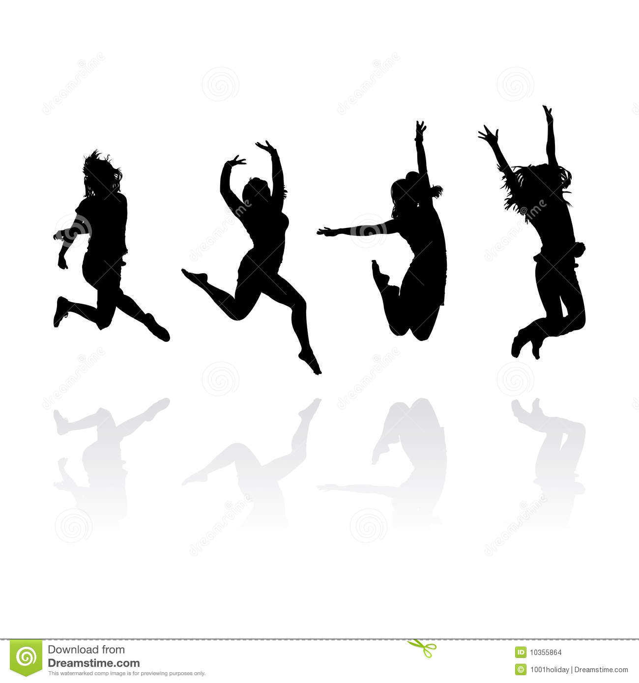 Jumping Girls Silhouettes Stock - 71.2KB