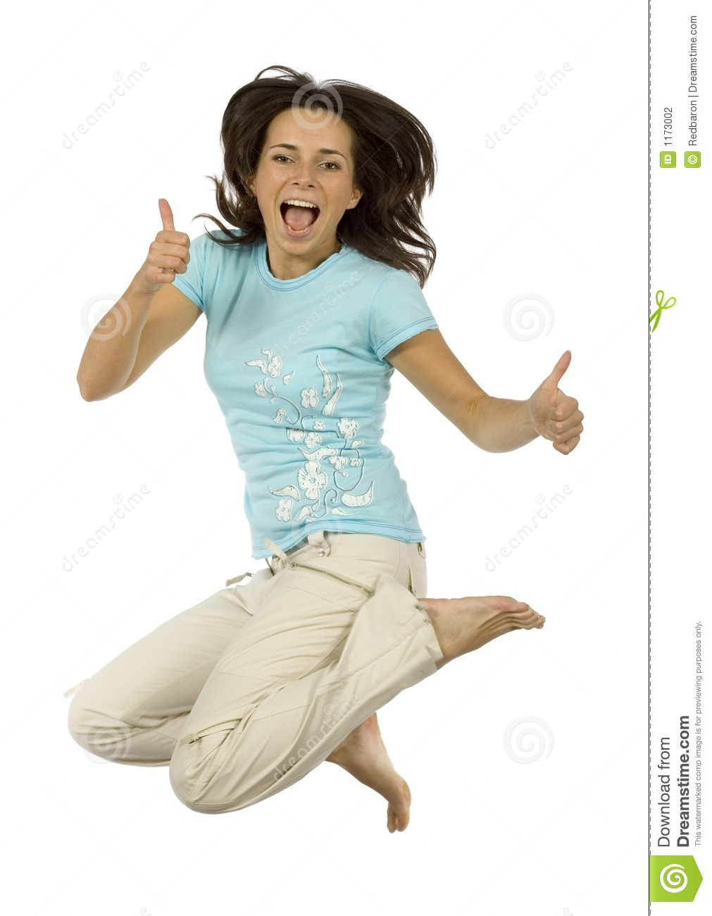Jumping Happy Woman Shows OK Stock Photography - Image: 1173002 Woman