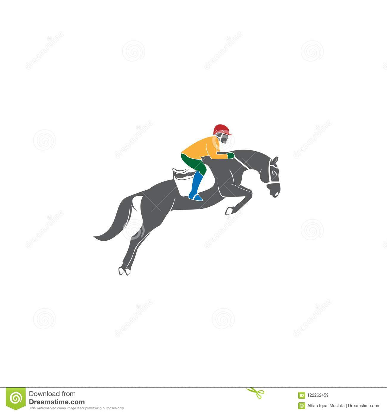 Jumping Horse Silhouette Logo Vector Design Template Illustration Of Horse Race Stylized Symbol Jockey Riding A Horse Emblem Stock Vector Illustration Of Equestrian Outline 122262459