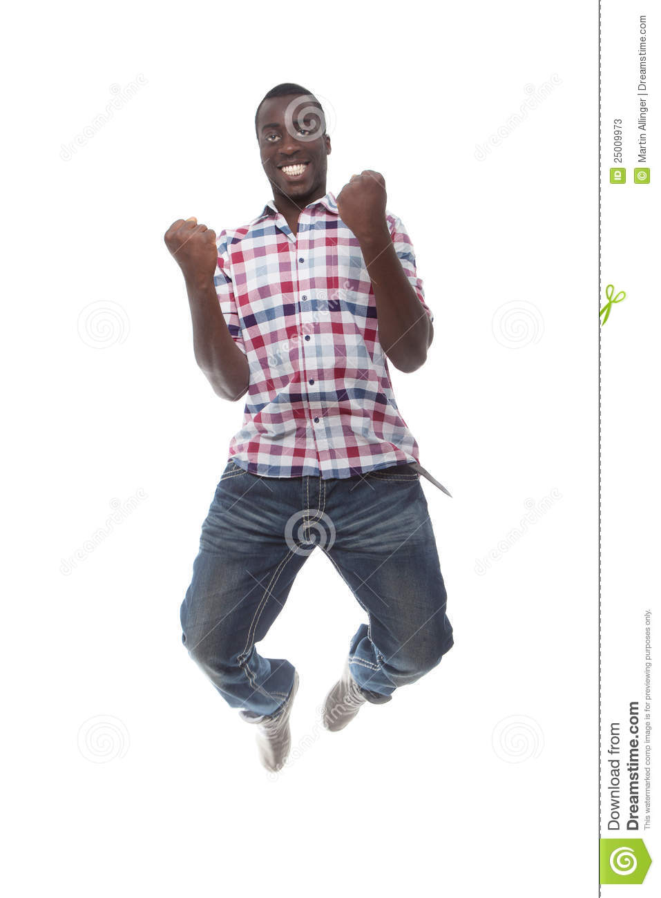 young happy business man jumping in the air isolated on