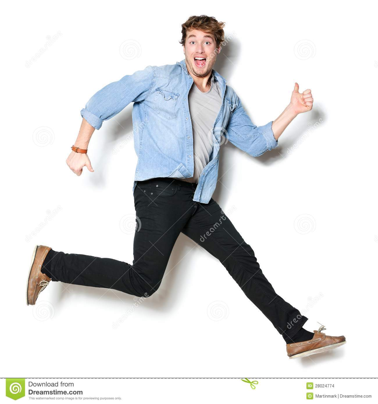 Jumping man happy excited