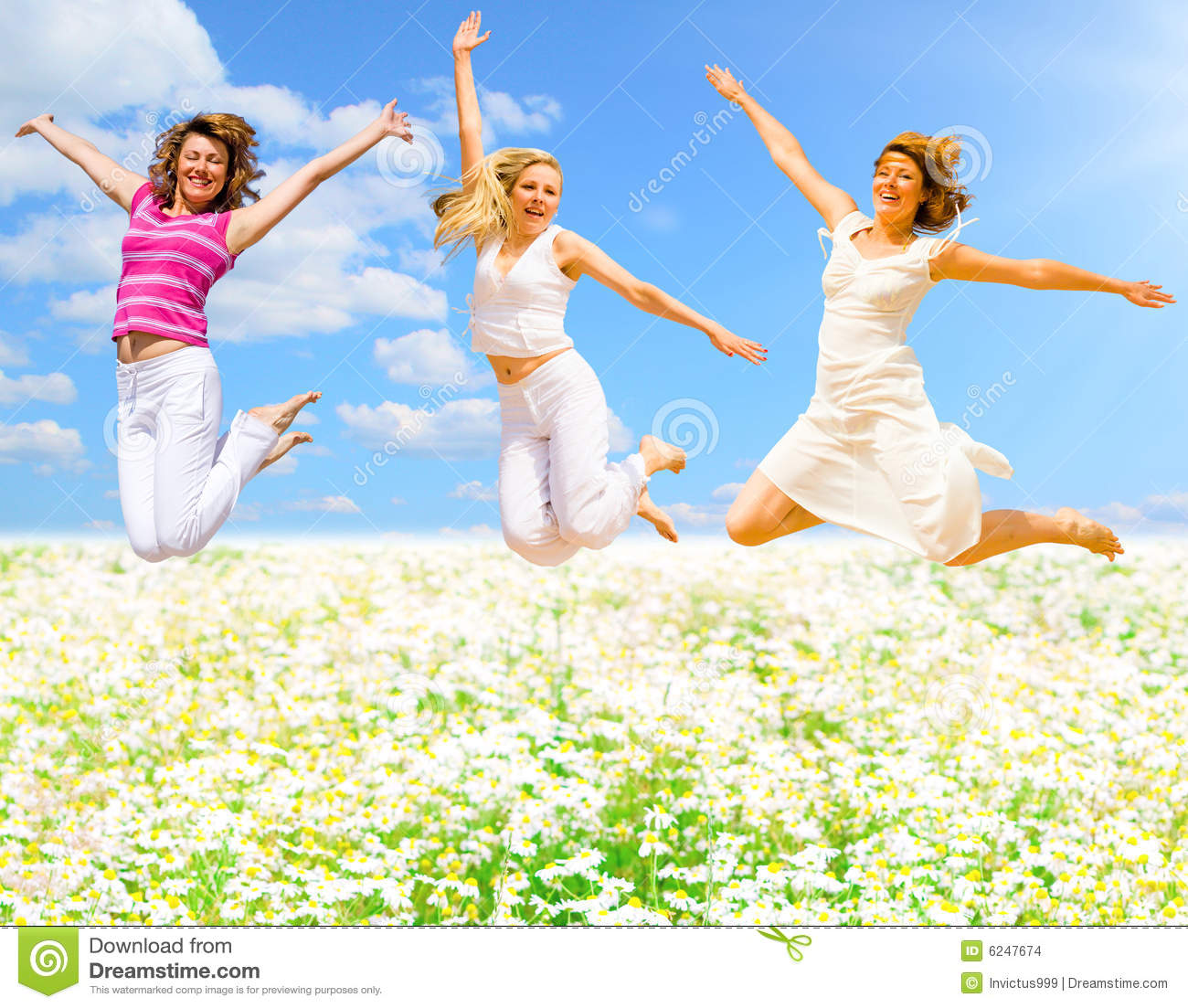 Jumping over flower field