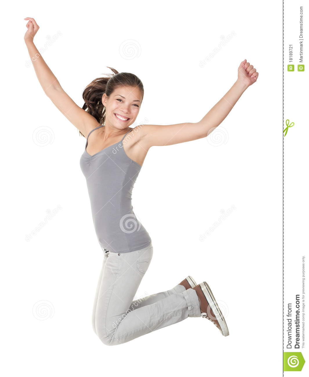 Jumping People Isolated: Student Woman Jump Stock Image ...