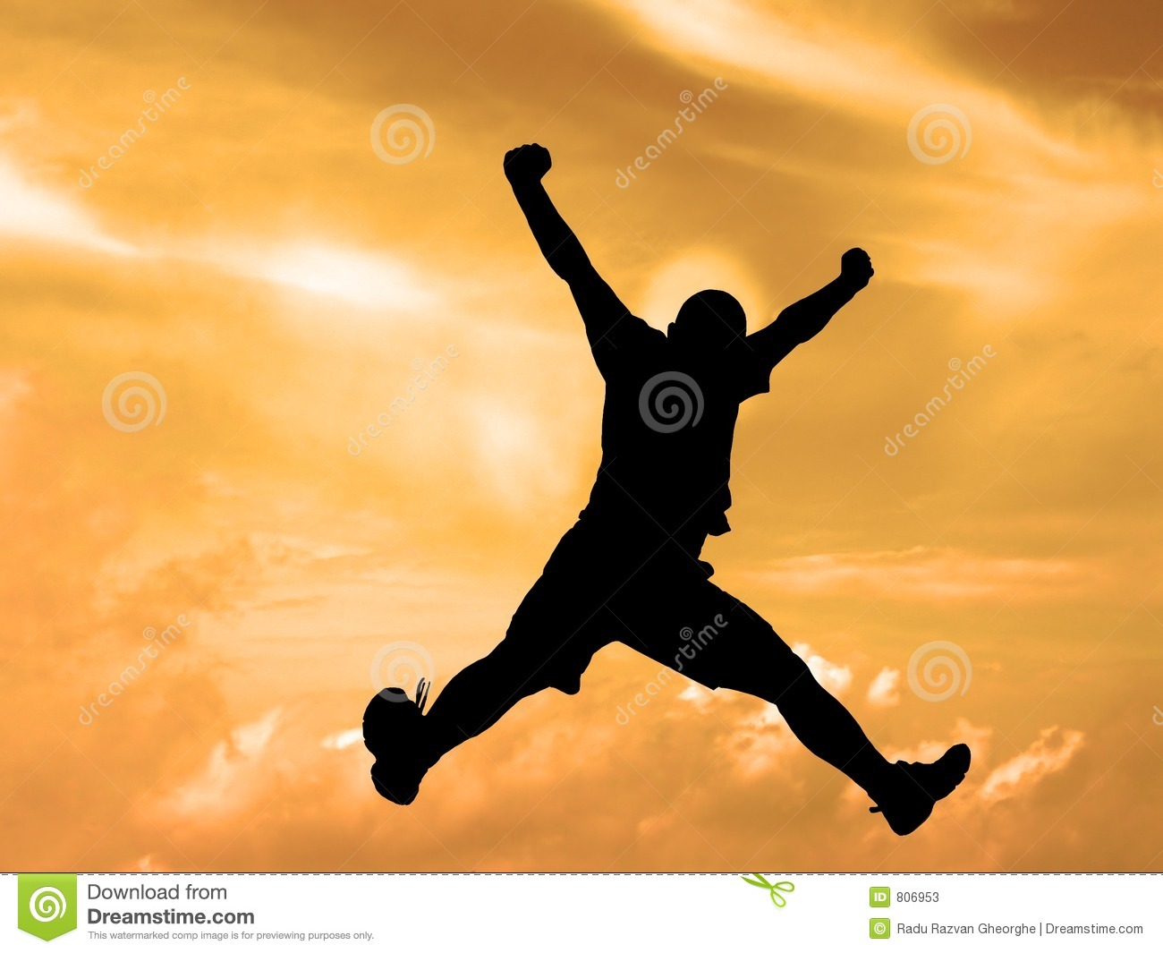 Jumping Silhouette Sunset Sky Clipping Path Stock Photos