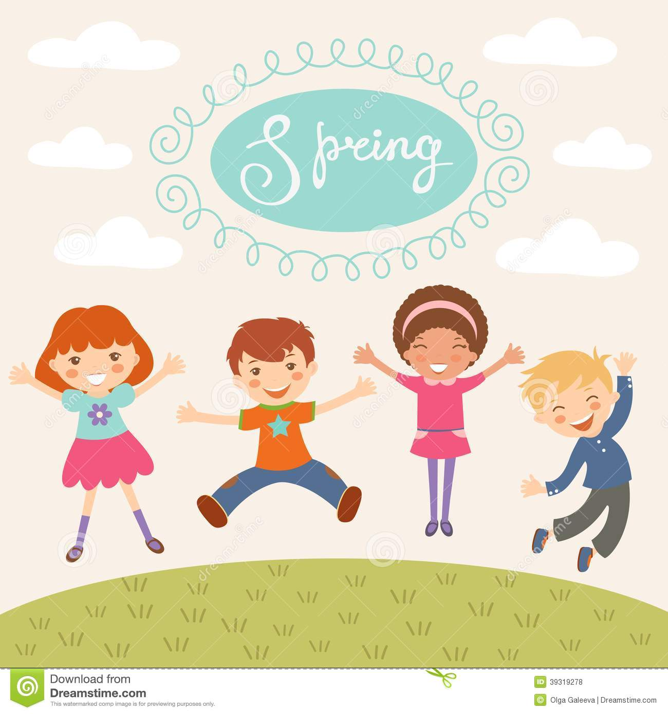jumping spring kids stock vector - Spring Images For Kids