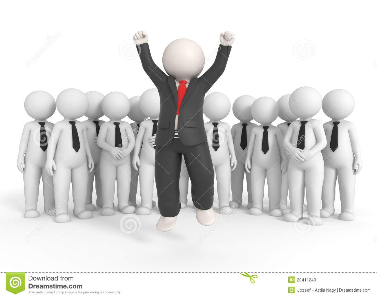 3d Cute People - Team Leader Stock Illustration - Image: 42777683