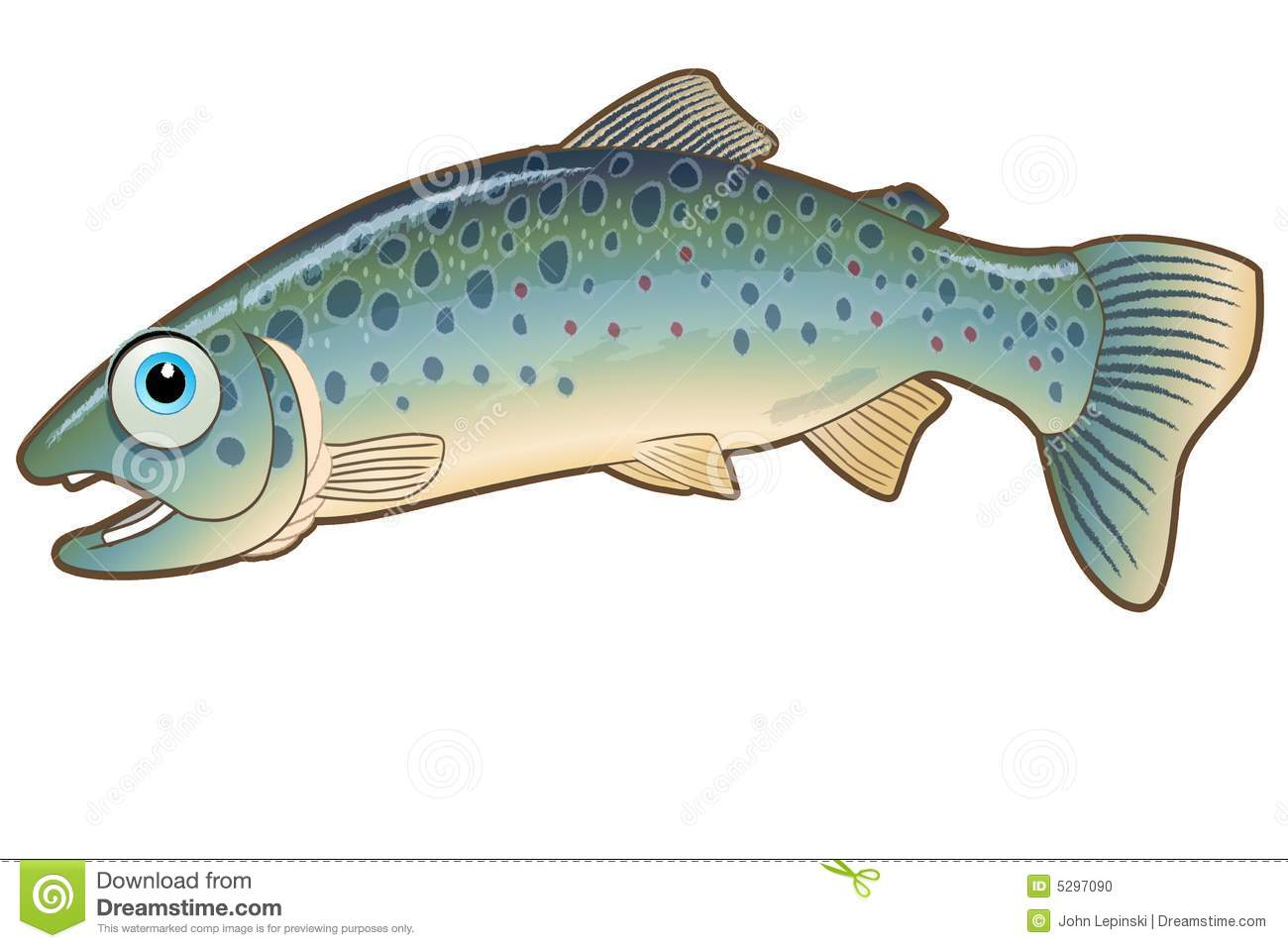 Jumping trout character illustration stock illustration for Idaho out of state fishing license