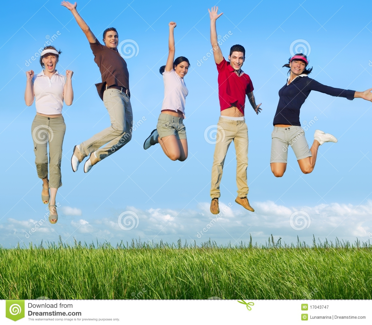 Royalty Free Stock Photography: Jumping young people happy group in ...
