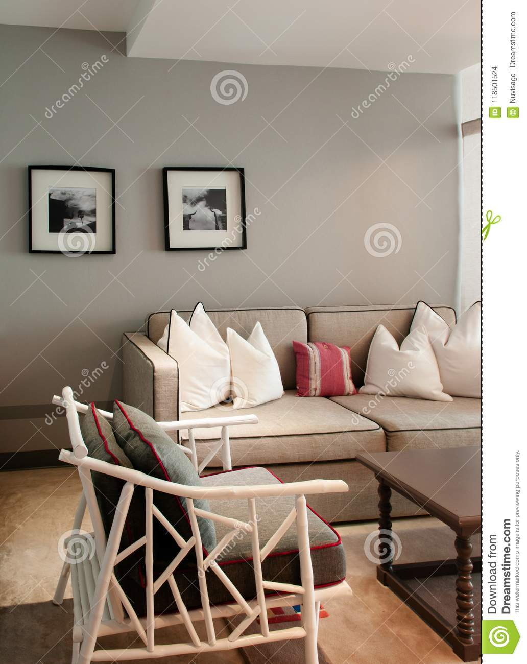 Download Contemporary Colonial Style Living Room With Well Design Furnitu  Editorial Stock Image   Image Of