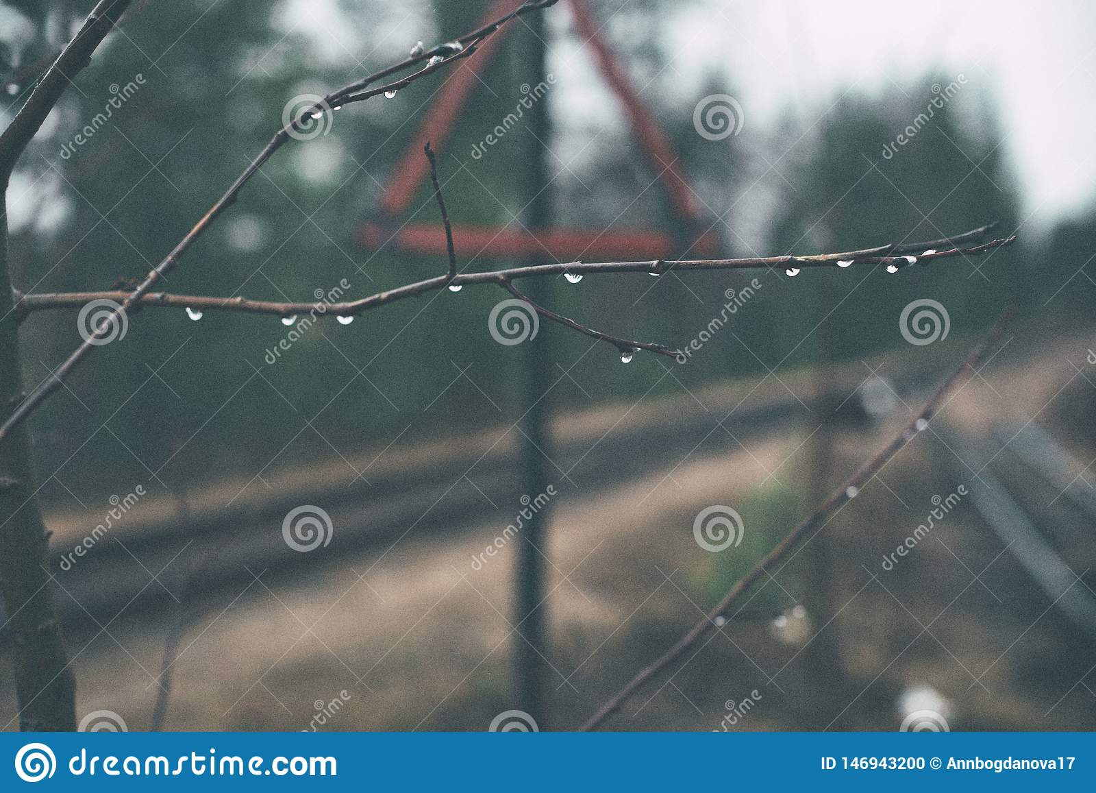 Jun??o da estrada de ferro Sinal de estrada Tri?ngulo vermelho Fundo borrado Pingos de chuva em ramos