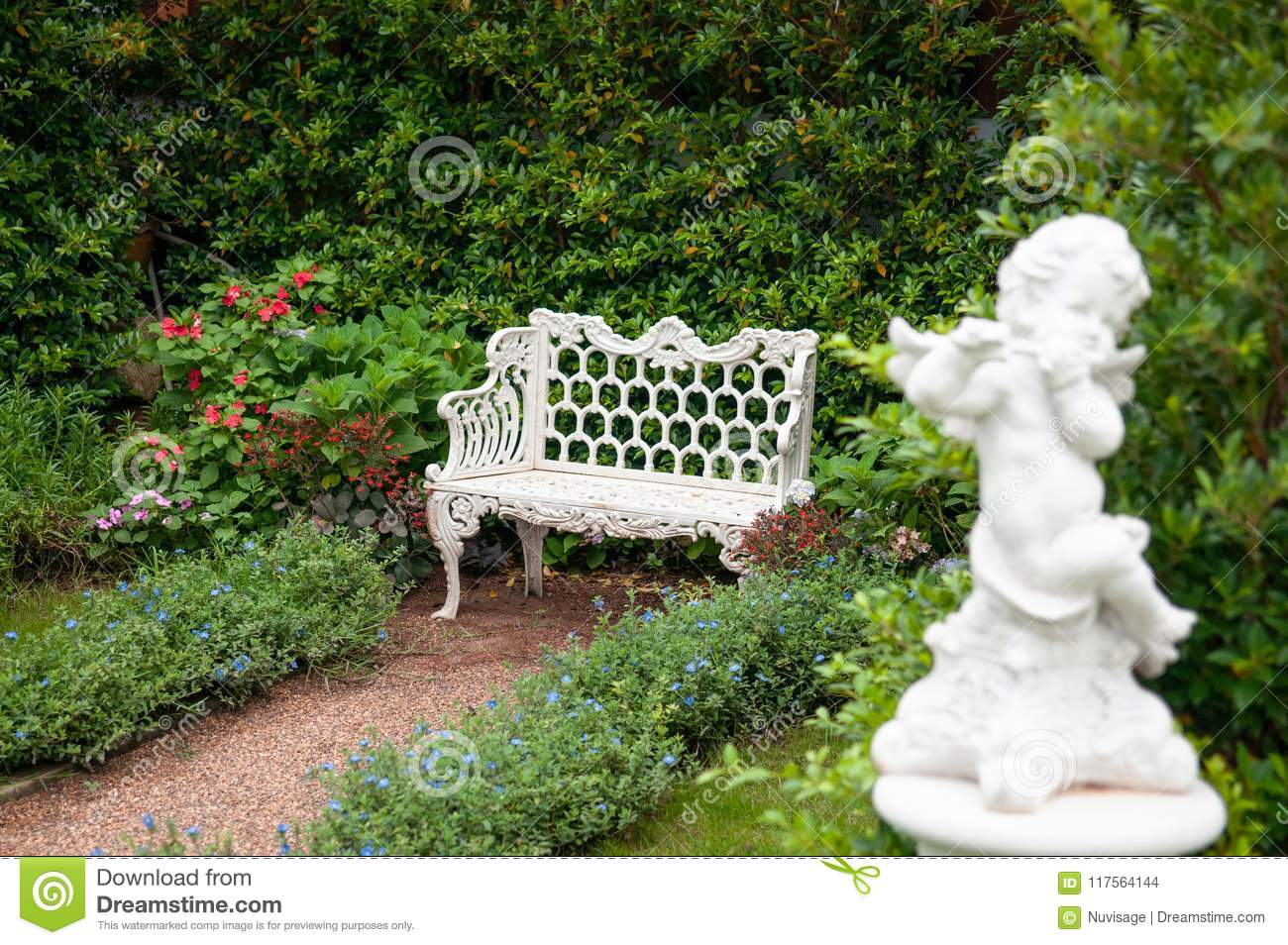 Outstanding Vintage English Country Garden With Flowers White Iron Gmtry Best Dining Table And Chair Ideas Images Gmtryco
