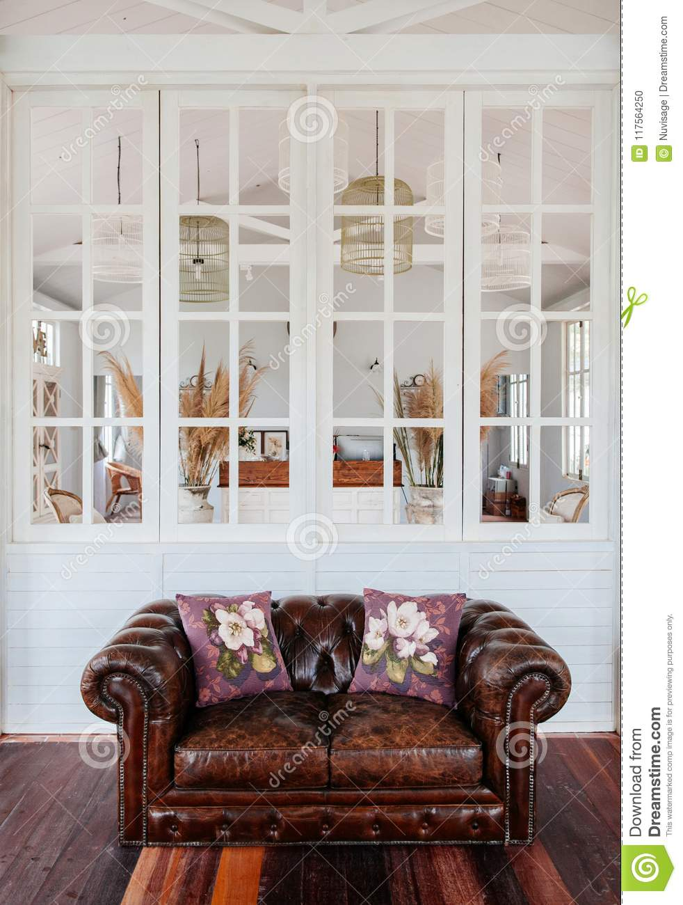 English Country Vintage Living Room Interior With Natural Light ...