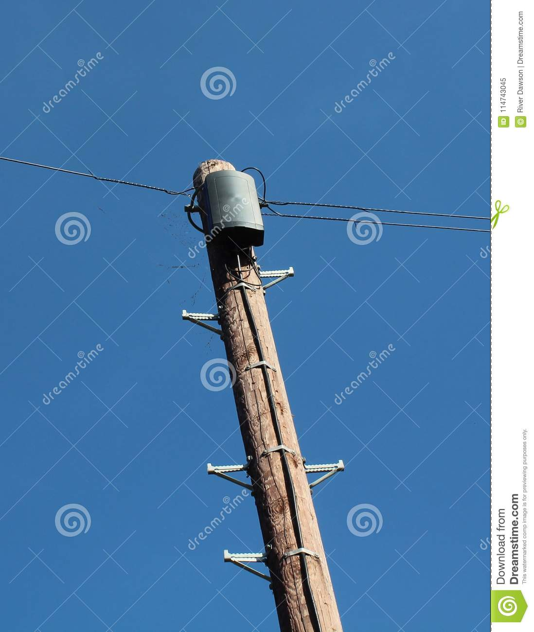 Telephone Pole Against Blue Sky Stock Image - Image of spring, blue