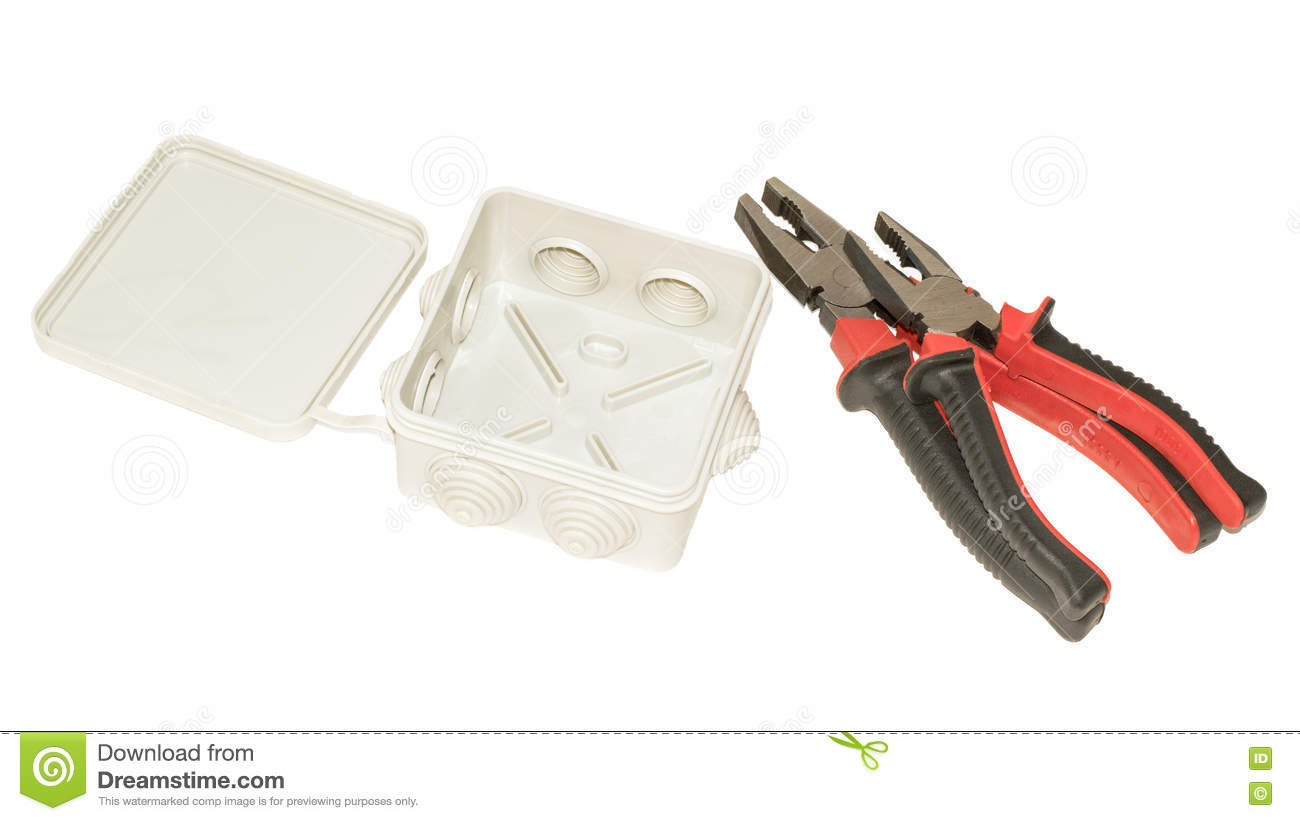Junction Box And Two Pliers Isolated On White Background Stock Image Home Wiring