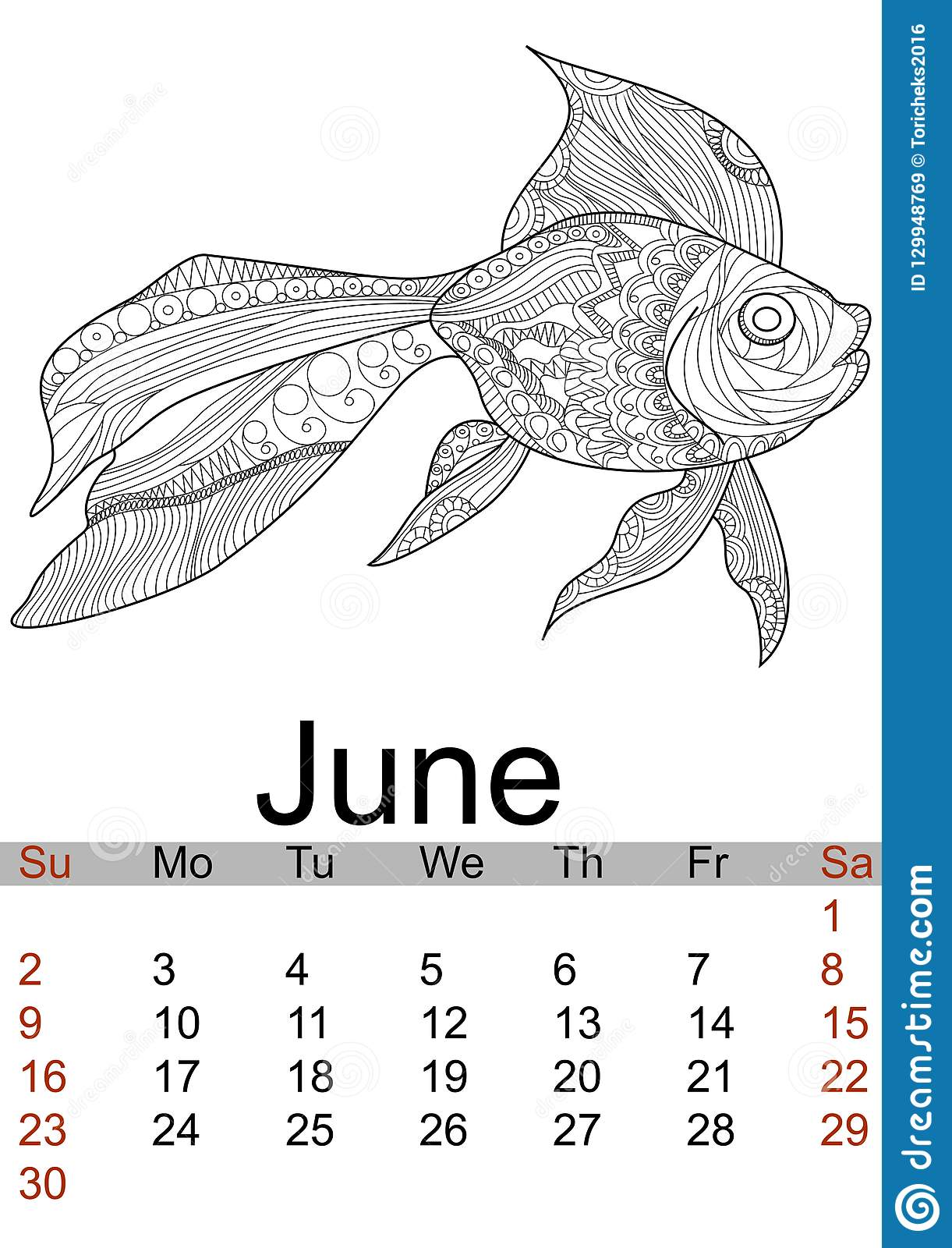 June calendar 2019. Antistress coloring gold fish, sea animal, patterns. Vector