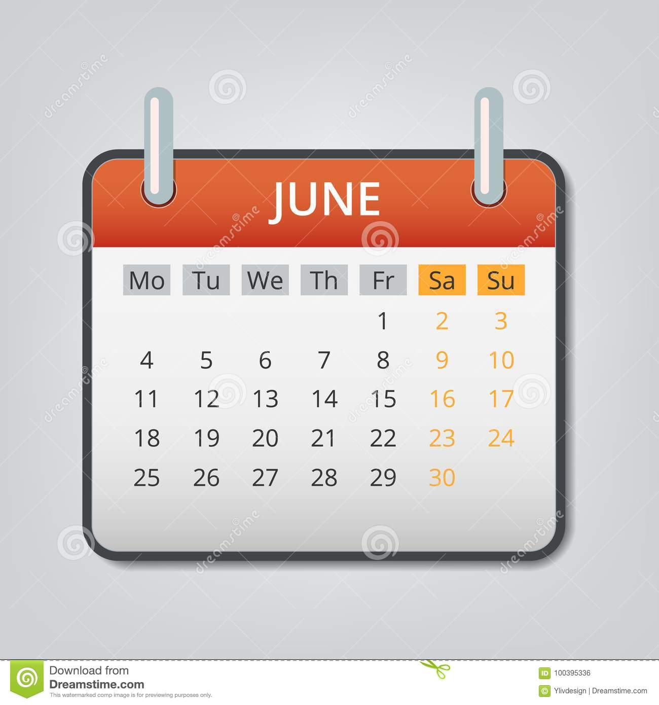 royalty free vector june 2018 calendar concept background cartoon style