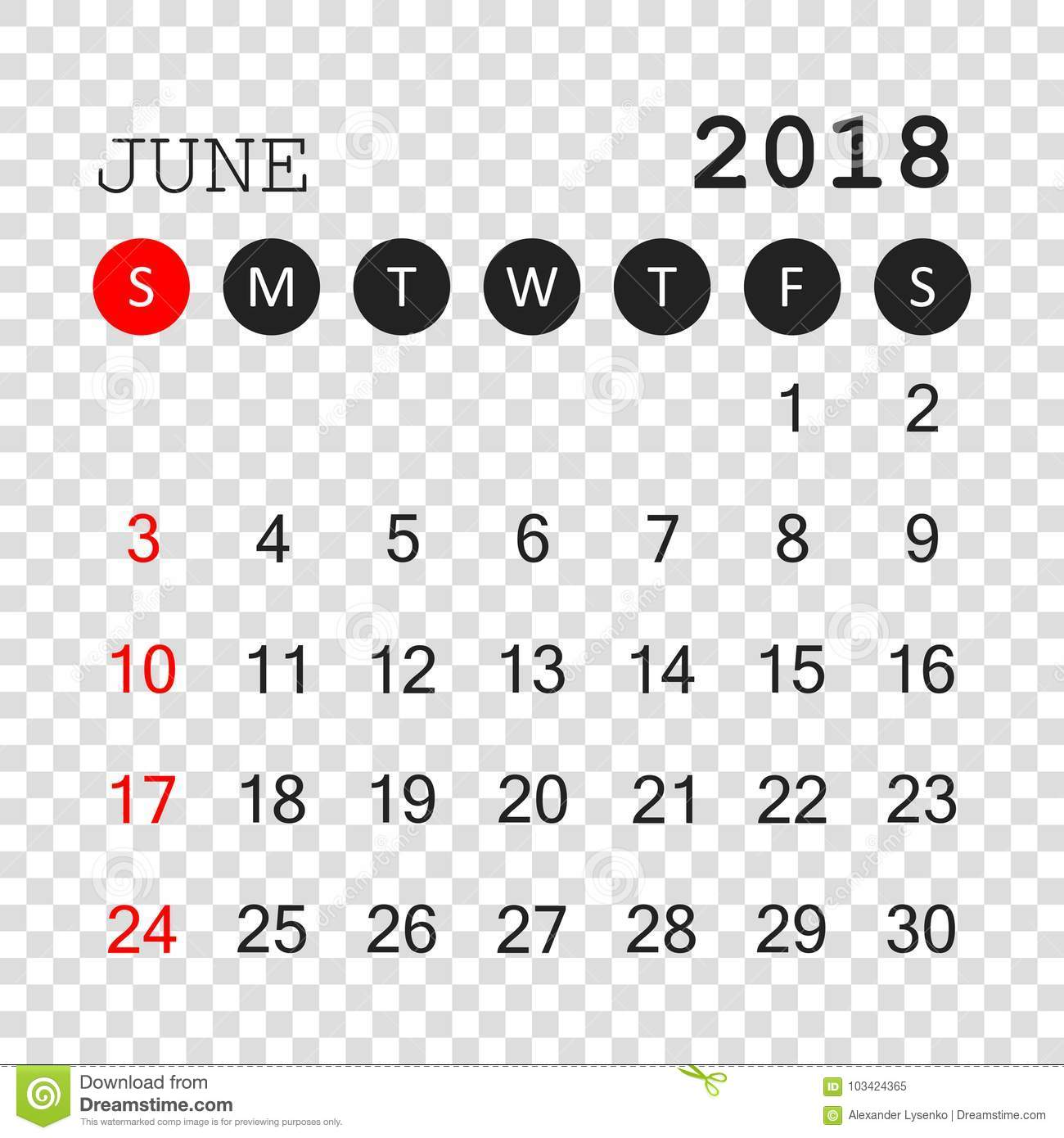 download editable calendar june 2018