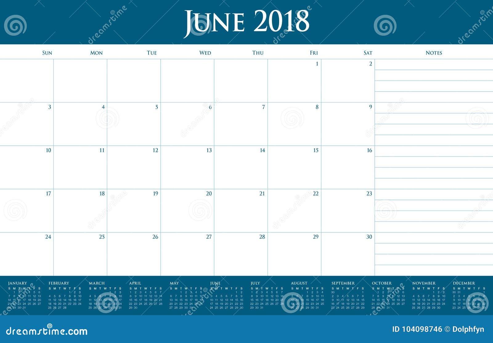 June Calendar Vector : June calendar planner vector illustration stock