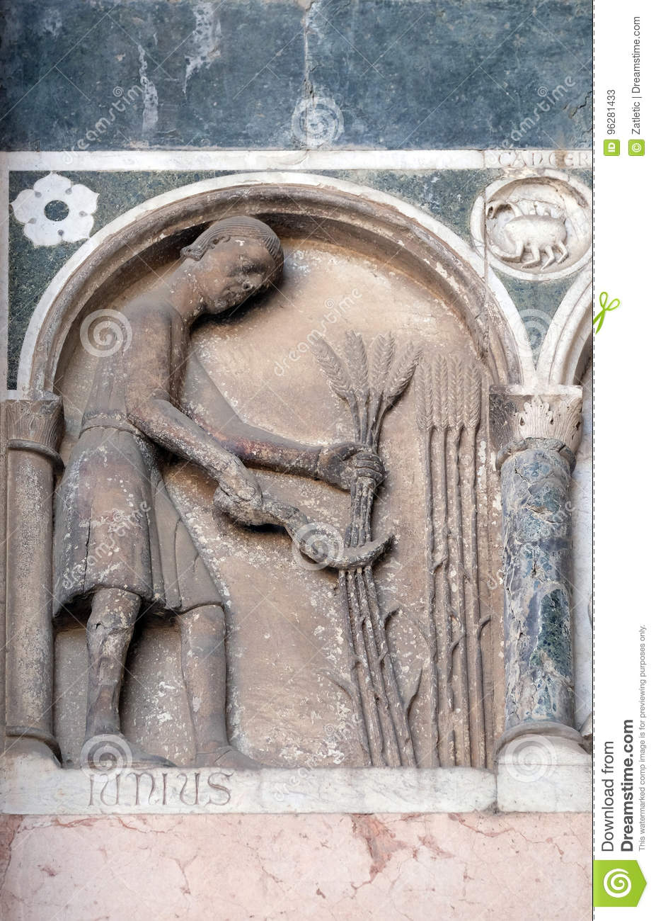 June, detail of the bass-relief representing the Labor of the months of the year, Cathedral in Lucca, Italy