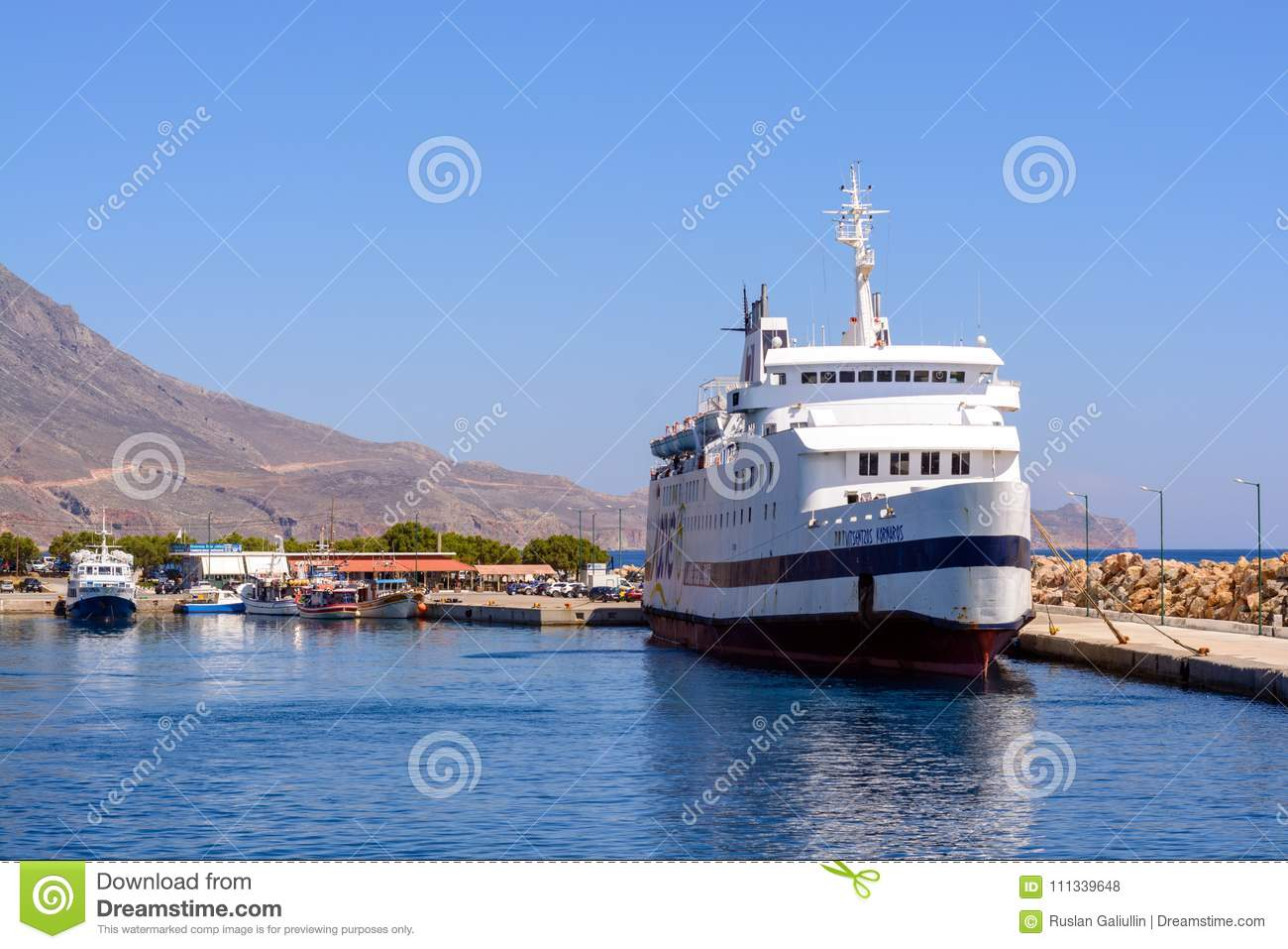 13 June, 2017, Greece. Cruise ship stands on the dock before sending it to the Bay of Balos, Greece.