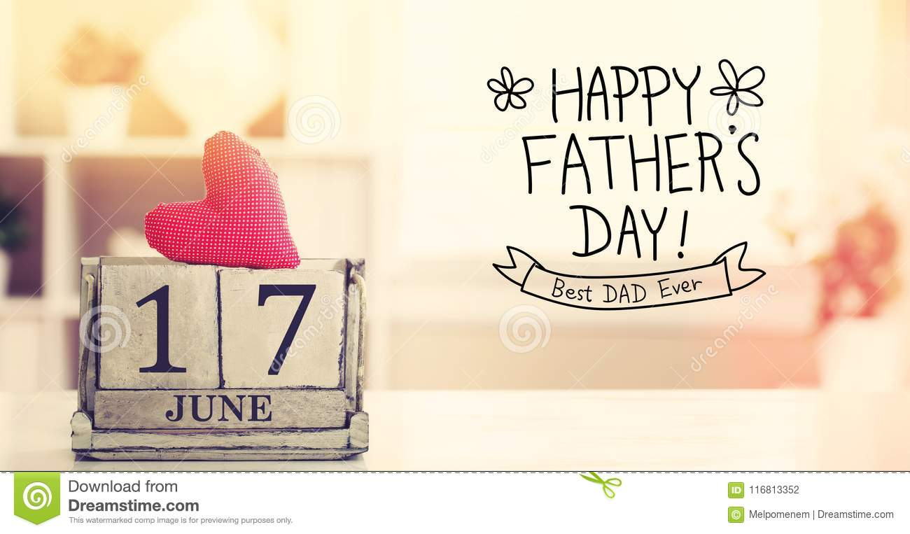 17 June Happy Fathers Day message with calendar