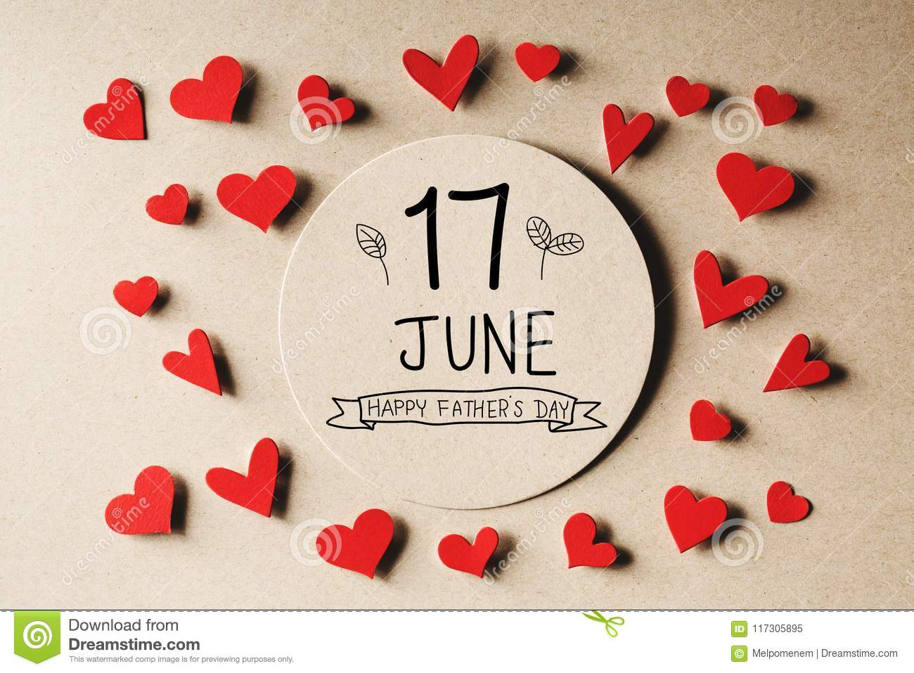 17 June Happy Fathers Day message with small hearts