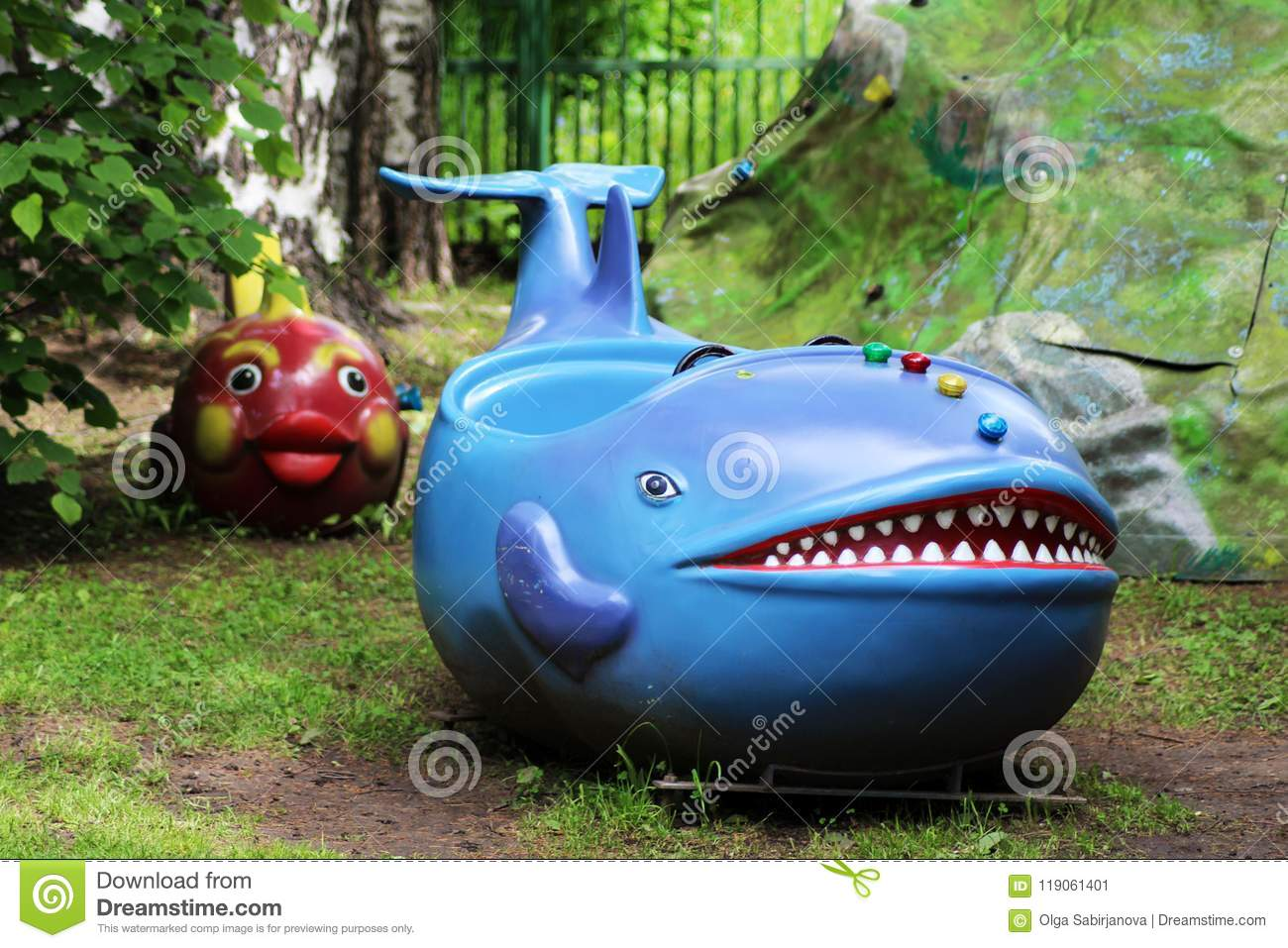 June 15, 2018. Izhevsk, Russia. Children`s carousel blue whale with the Park.
