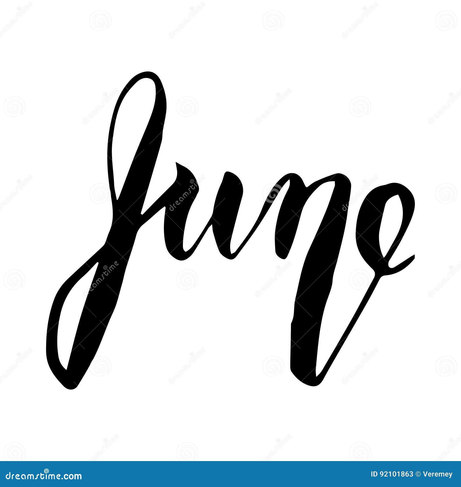 June lettering print summer illustration stock vector