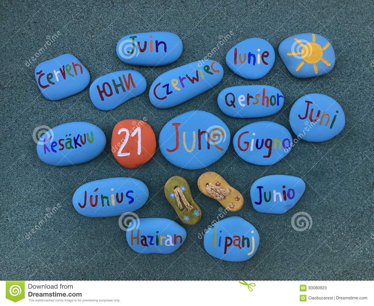 21 June in many languages on stones