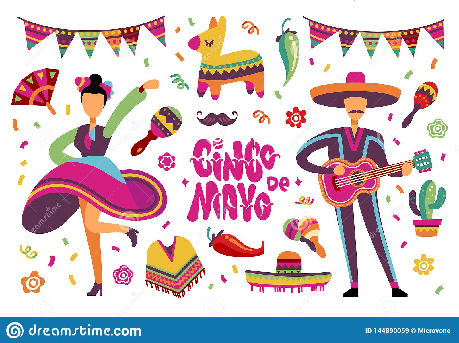 June Party Festival Mexican Or Brazil Fiesta Elements With