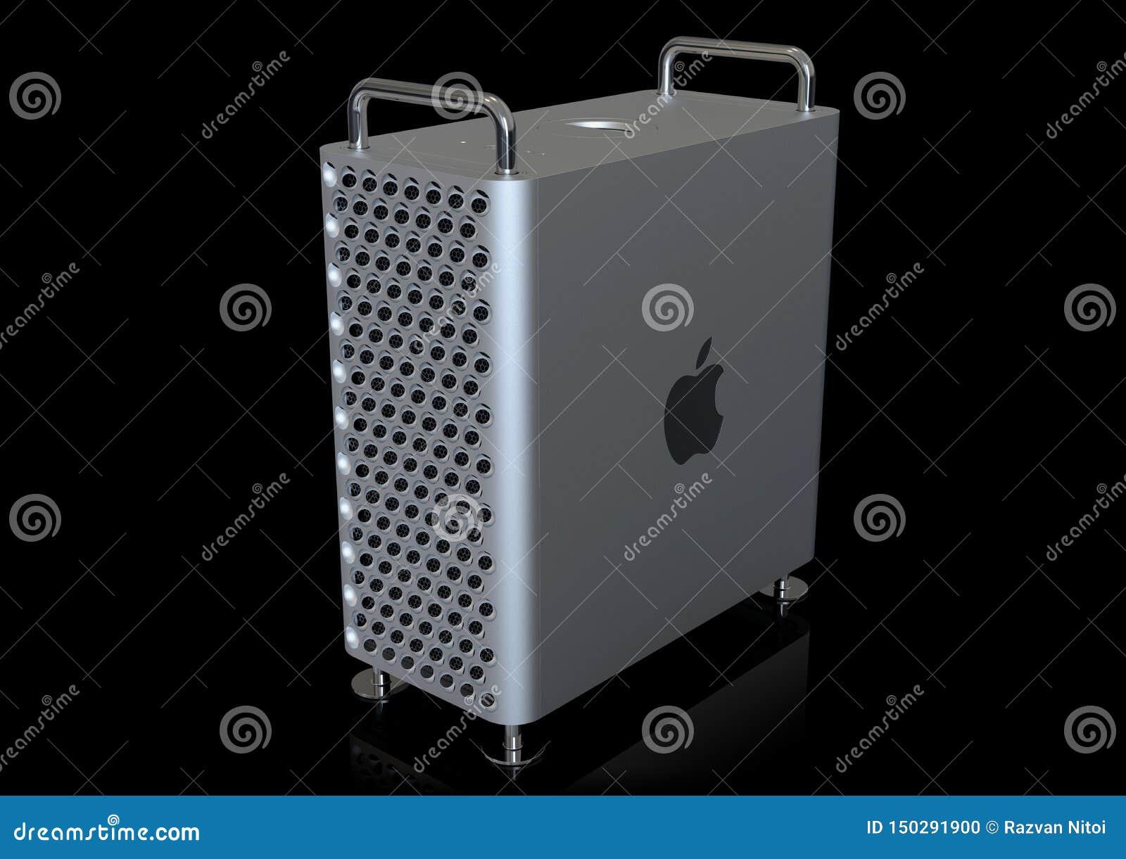 Apple Mac Pro 2019 Desktop Computer, Perspective On Black