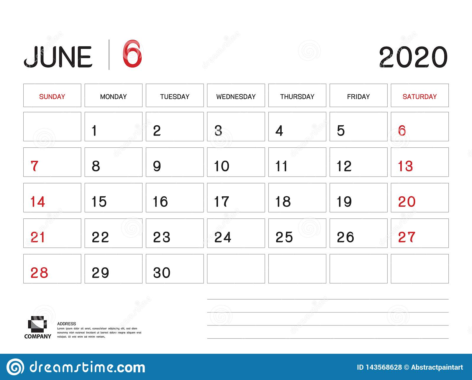 Calendar June 2020.June 2020 Year Template Calendar 2020 Vector Desk Calendar Design