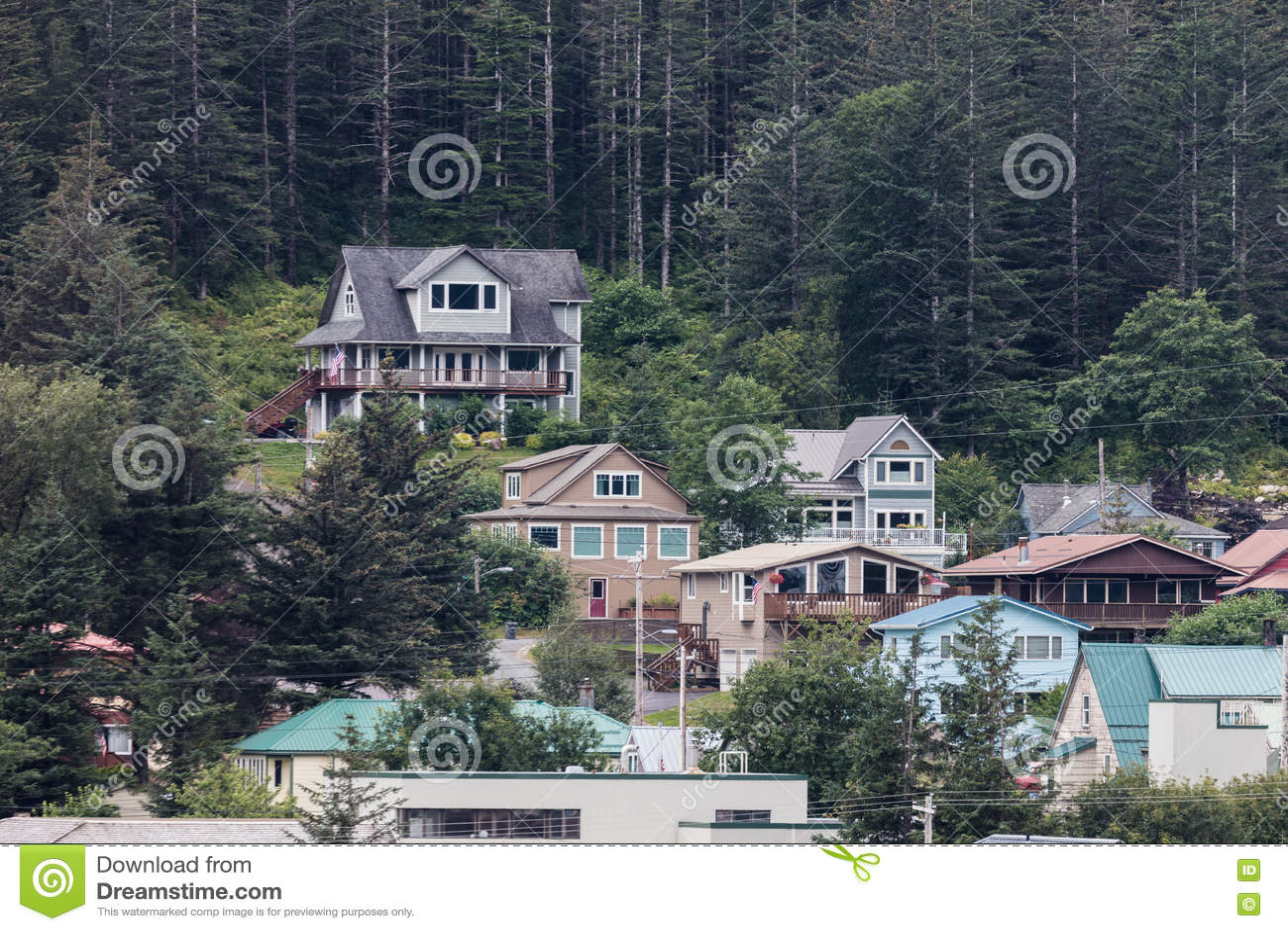 Juneau alaska homes editorial stock photo image of town for Alaska home builders