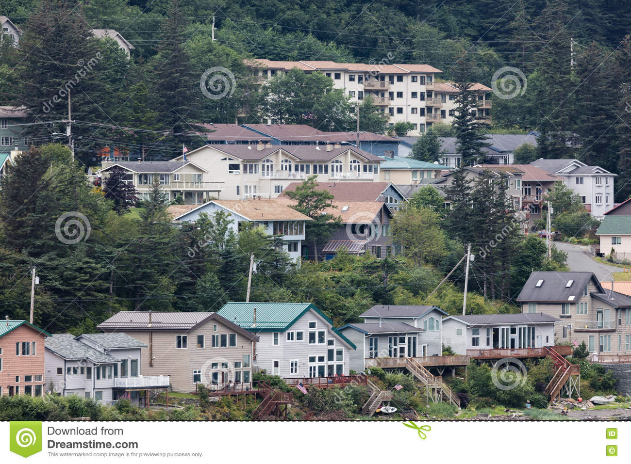 Juneau alaska homes editorial photography image of town for Home builders alaska