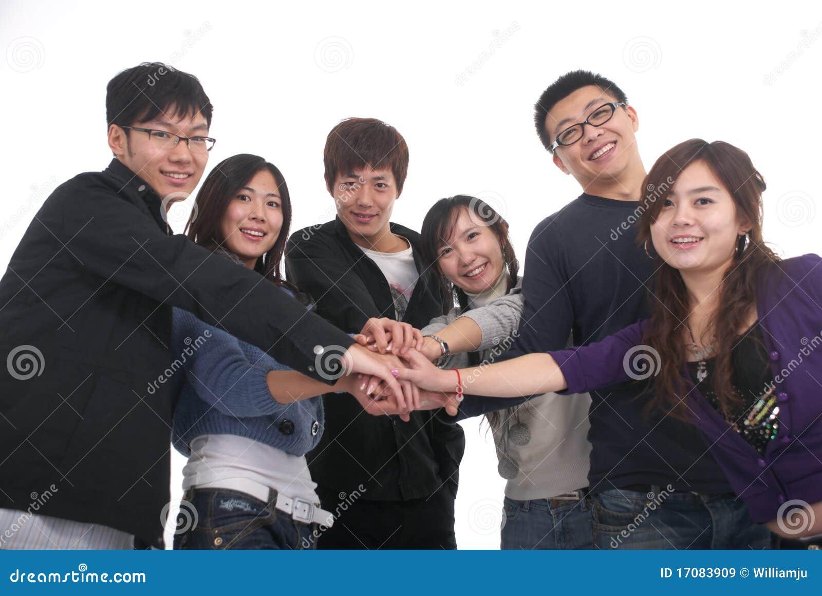 Junge asiatische Gruppe