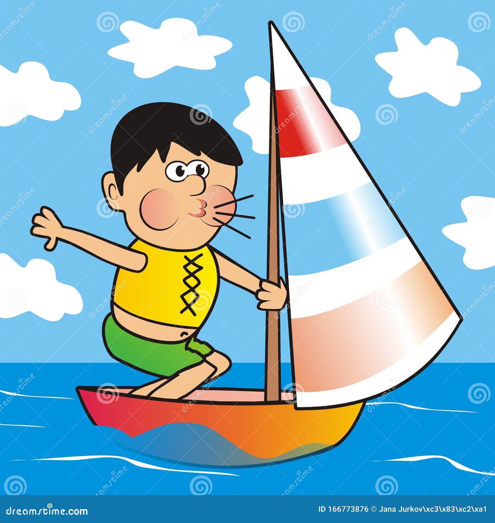 junge auf segelbooten lustige vektorgrafik vektor