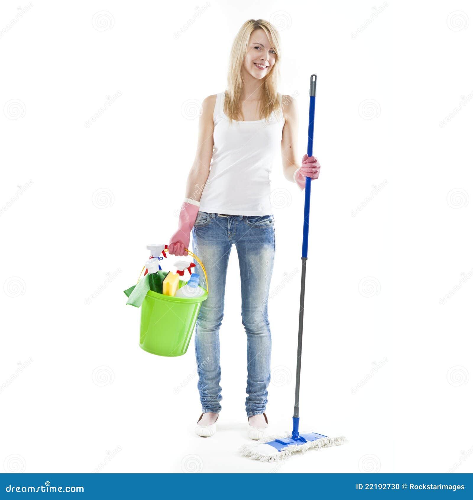 junge blonde attraktive haus putzende frau stockfoto bild 22192730. Black Bedroom Furniture Sets. Home Design Ideas