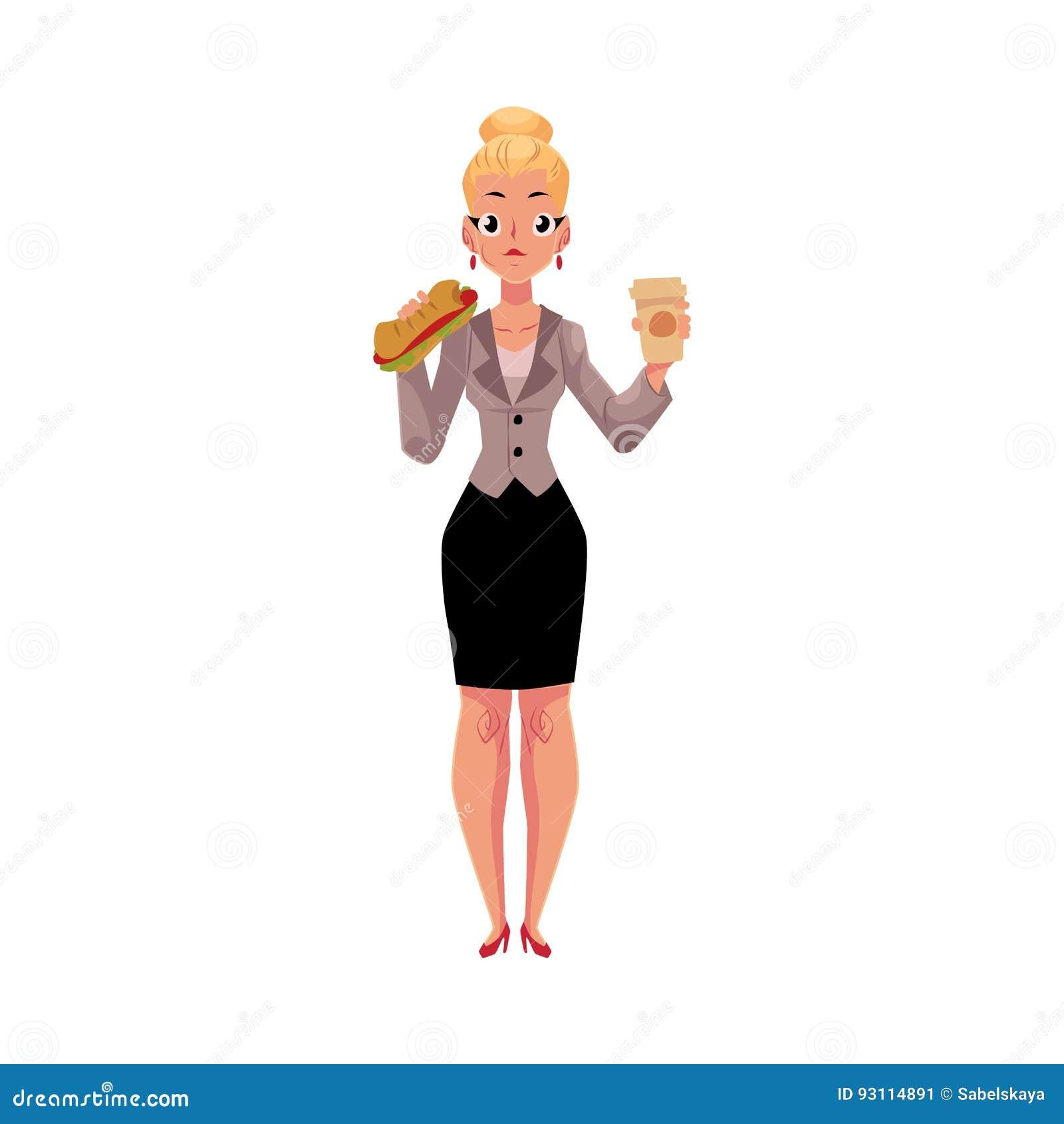 Junge blonde Geschäftsfrau, die das Sandwich, Kaffeetasse halten, Mittagspause isst