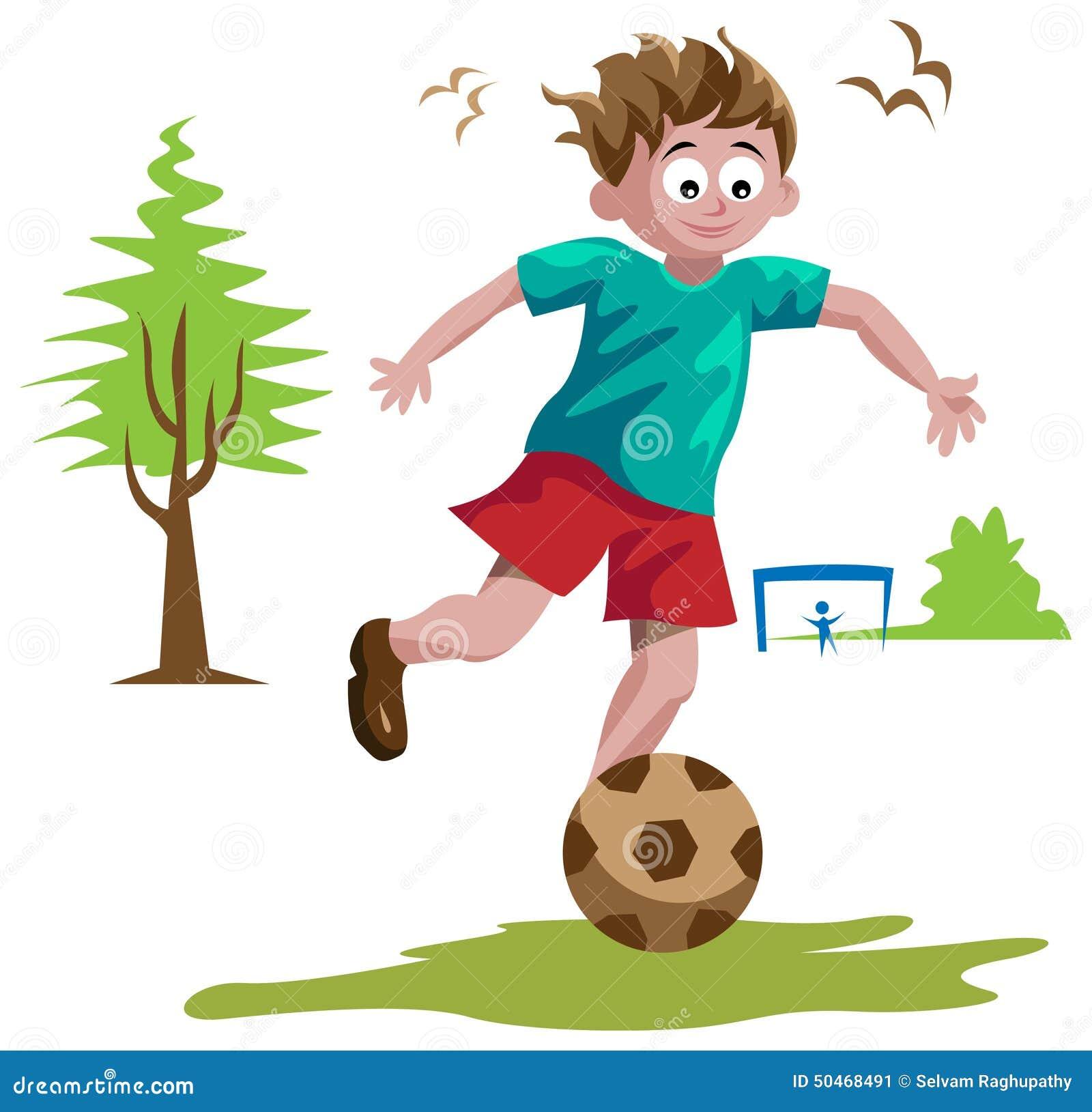 Junge Der Fussball Spielt Vektor Abbildung Illustration Von
