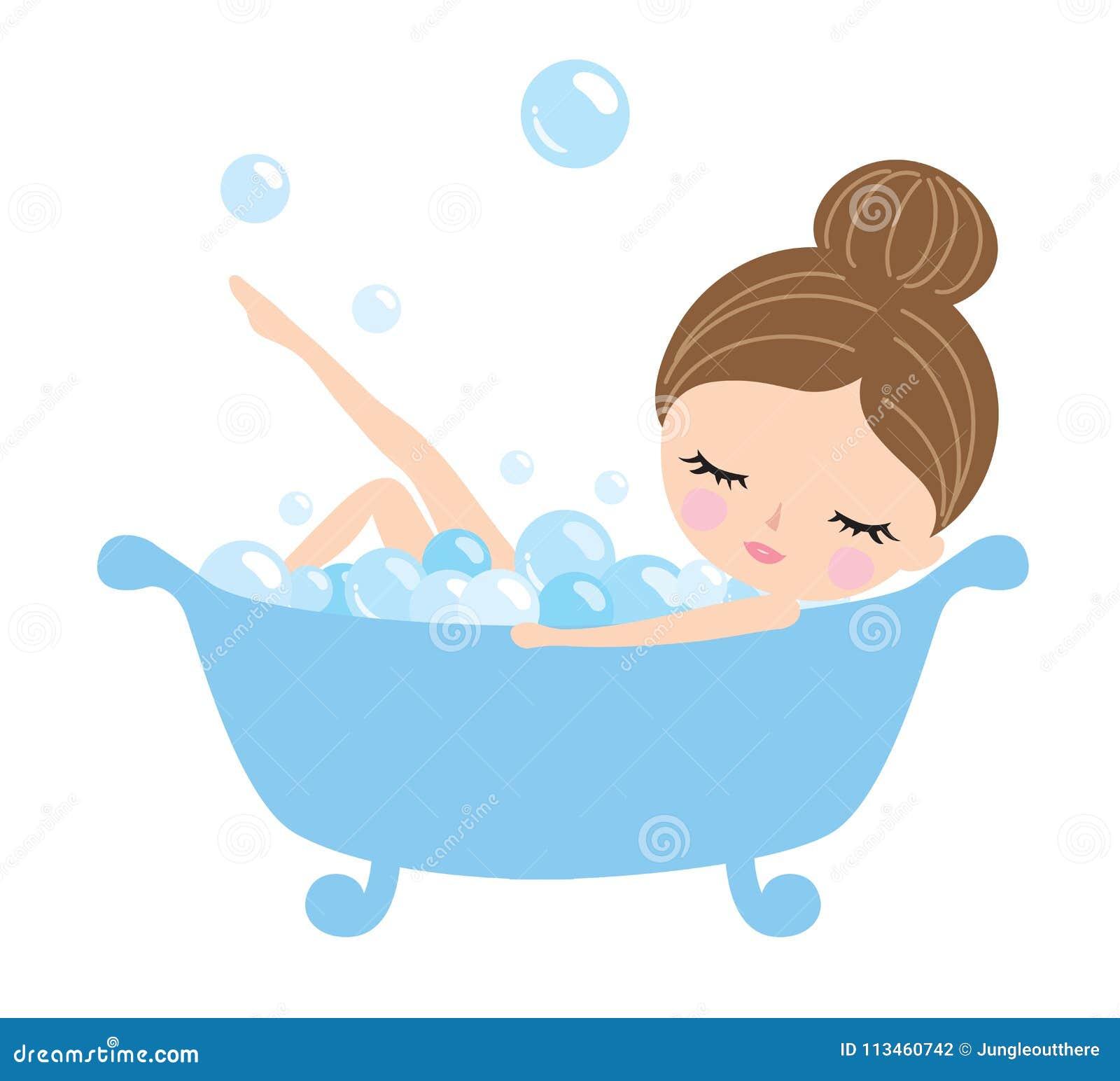 Junge Frau In Der Badewanne Vektor Abbildung Illustration Von