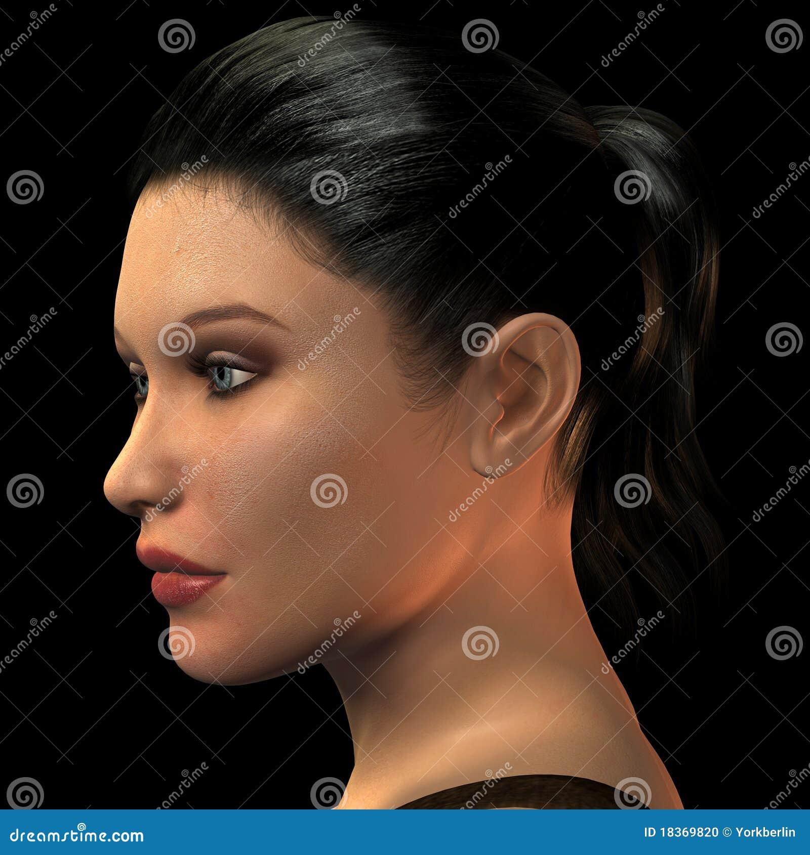 Jente Frau: Junge Frau Des Portraits Mit Dem Kurzen Haar Stock