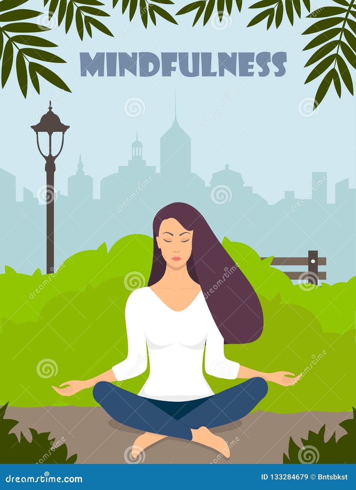 Junge Frau, die Meditation in der Lotoshaltung mit geschlossenen Augen macht Schönes Mädchen entspannt sich und übt Yoga im Stadt