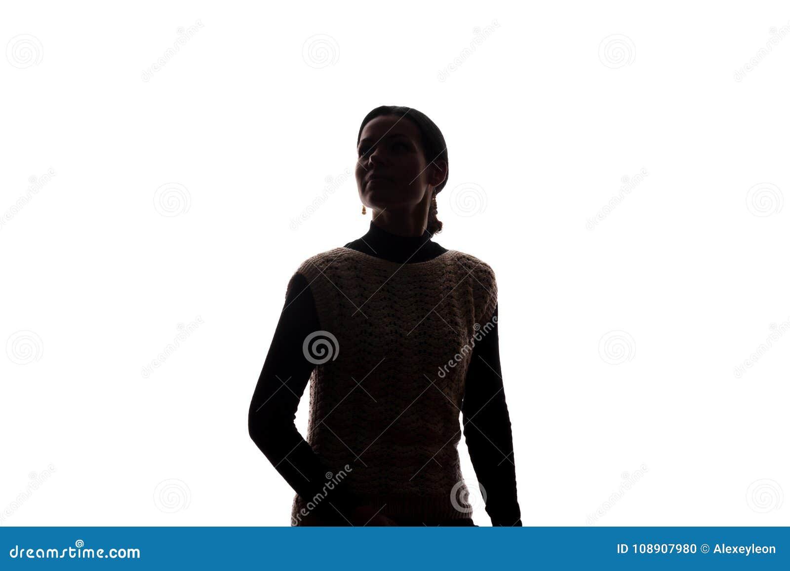 Junge Frau, die oben - horizontales Schattenbild schaut
